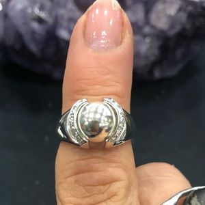 Sterling silver ring w/ sterling ball SZ 9